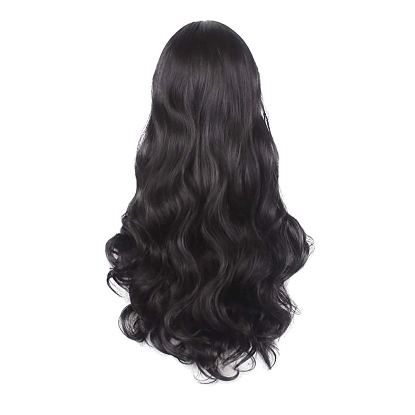 拾う過ち幸運なことに女性の黒の長い波状の巻き毛のかつらパーティーCOS小道具かつらをかつら