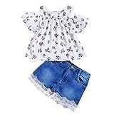 Jimmackey Neonata Bambine off Spalla Floral Cime + Pizzo Denim Pantaloncini Completo (Bianco, 6-12 Mesi)