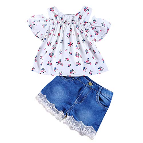 Jimmackey Neonata Bambine off Spalla Floral Cime + Pizzo Denim Pantaloncini Completo (Bianco, 12-18 Mesi)