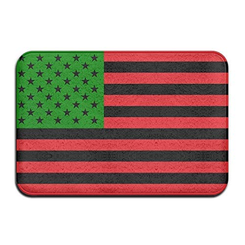 Tapete para entrada, suave antideslizante Bandera afroamericana - Rojo, negro y verde Alfombra de baño Alfombra de lana de coral Alfombra de puerta Alfombra de entrada Alfombrillas de suelo 60 X 40Cm