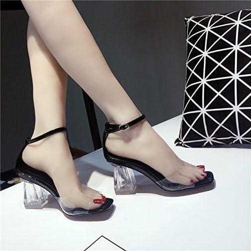 SUHANG Sandales La Tête D'épaisseur Avec Fixations Oblongs, Dew-Girl Fashion Sandales à Talons Hauts Noir, Transparent, 35