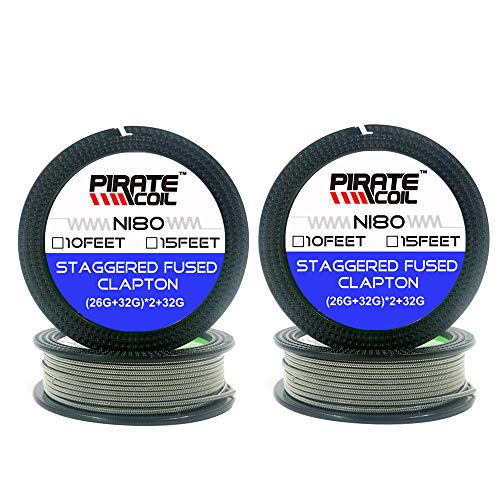 2 Packs Staggered Fused Clapton wire 10ft - (26GA+32GA) x2+32GA Resistance Wire NI80 SS316 Wires (NI80+NI80)
