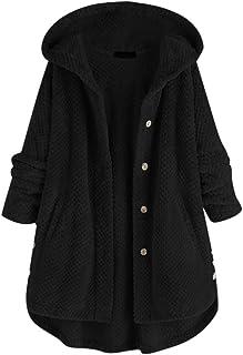 Reooly Women Oversized Fleece Irregular Long Sleeve Hooded Coat,Ladies Solid Button Pocket Warm Parka Jacket