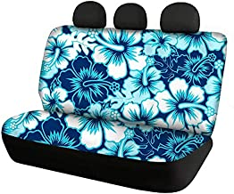 BIGCARJOB Hawaiian Style Hibiscus Dog Car Seat Covers, Pet Seat Cover for Back Seat - Blue Floral Print Bench Seat Cover Auto Interior Protective Cover Universal Size