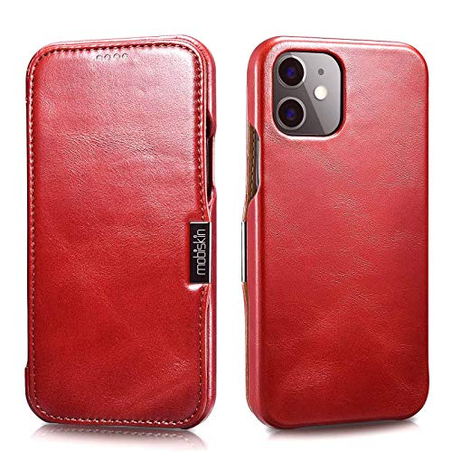 Mobiskin Hülle kompatibel mit Apple iPhone 12 Mini (5,4 Zoll), Handyhülle mit echtem Leder, Hülle, Schutzhülle, dünne Handy-Tasche, Slim Cover, Vintage Rot