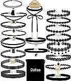 Outee - Confezione da 20pezzi di graziosi collarini neri in velluto, collane adatte per donne e ragazze