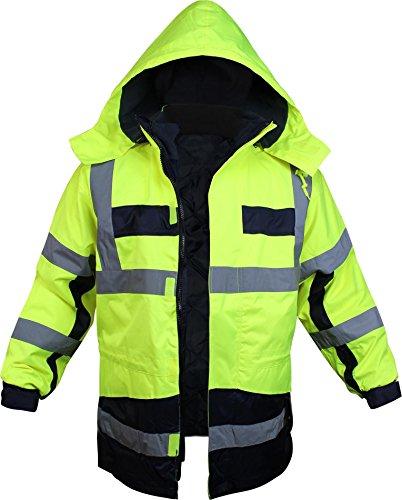 normani Warnschutz-Parka mit Kapuze in auffallenden Neonfarben und mit reflektierenden Streifen [Gr. S-4XL] Farbe Neongelb/Marine Größe XL