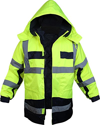 normani Warnschutz-Parka mit Kapuze in auffallenden Neonfarben und mit reflektierenden Streifen [Gr. S-4XL] Farbe Neongelb/Marine Größe XXXL