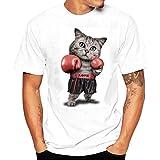 K-youth Camiseta Hombre, Gato de Boxeo Camiseta para Hombre tee Cuello Redondo Tops Camisetas Ropa Hombre Deportiva 2018 Ofertas (Blanco, L)
