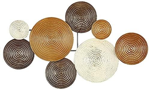 Decoraciones de pared, Lienzo en la casa pequeño conjunto de 8 círculos de disco estéreo brillante decoración de la pared de metal colgando el arte de la escultura de pared grande - 2 estilos para ele