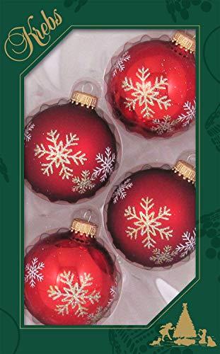 Weihnachtskugeln Christbaumkugeln 4er Pack Kugeln rot mit Schneesternen mundgeblasener Baumschmuck aus Glas mit Ø ca. 6,5 cm