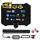 [Best of 2020] Digital Indoor Tv Antenna - Full HDTV Smart Amplified Rabbit Ear Antennas, Crystal Clear 1080P 4K Support, Powerful Amplifier Signal Booster, 55-130 Miles Range, Free Channels