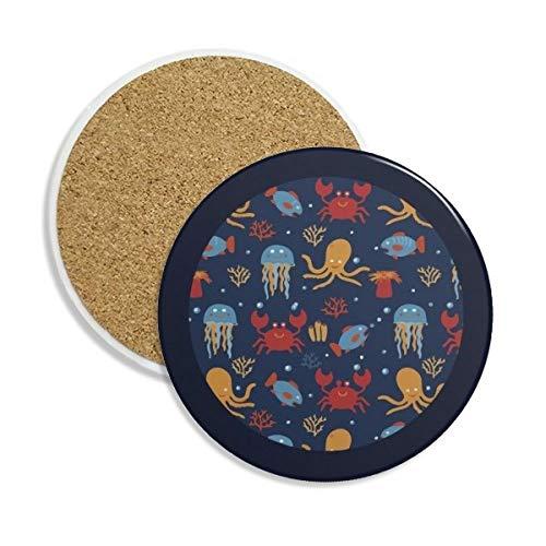 Deep Sea Tintenfisch Qualle Crab Keramik Untersetzer Tasse Halter saugfähig Stein für Getränke 2Geschenk
