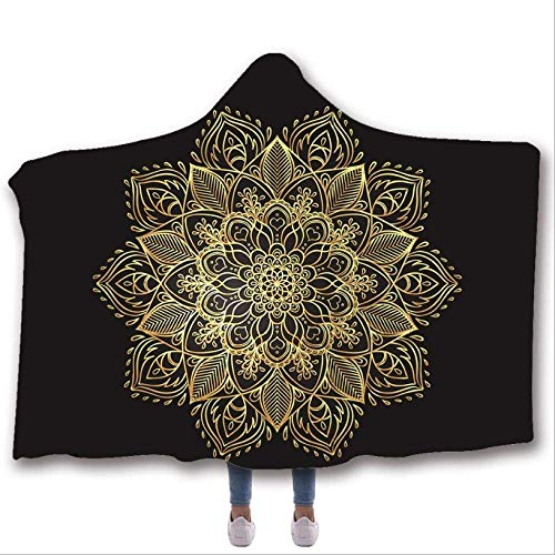 Yaxinduobao Soft Hooded Blanket, 3D Mandala Print Arctic Velvet Blanket, Double Wool Blanket, throwable Sofa Bed Wool Blanket