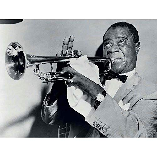 Wee Blue Coo Photograph BW Music Jazz Louis Armstrong Playing Trumpet Jazz Art Print Poster Wall Decor 12X16 Inch