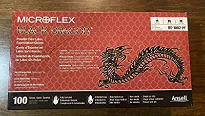 Microflex (MFXBD1002PFM) Black Dragon Powder Free Black Latex Exam Gloves - Medium