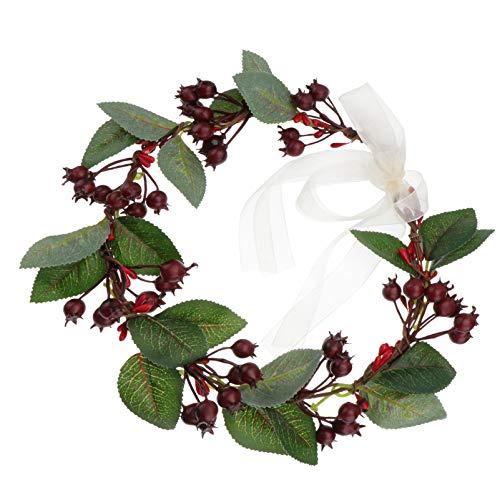 Lurrose Corona de flores corona de pelo de la Navidad Corona Floral Corona Artificial Berland accesorios para el cabello para la fiesta de la boda del partido (rojo)