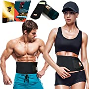 Only1MILLION Waist Trimmer Belt and Smartphone Neoprene Sleeve - Waist Sauna for Accelerated Weight Loss and Toxin Workout Tummy Belt Acting Like a Portable Sauna (Size L, Black)
