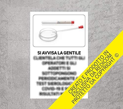 Generico Cartello Covid 19'Test sierologici Operatori - 20x30 cm - 3 Pezzi - Adesivo per Interni - ETCOV26