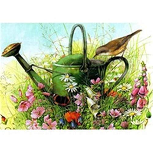 DIY 5D Diamond Painting by Number Kits Bird Kettle for Adults Kids Beginners Round Full Drill Crystal Rhinestone Pasted Painting Cross Stitch Embroidery Canvas Picture Art Craft for Decor 40x50cm