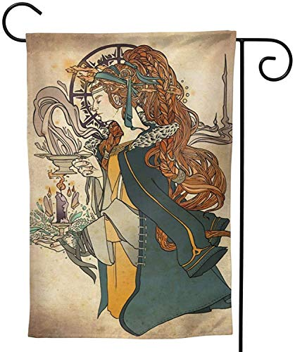 Star Heaven Imbolc Brigid Goddess Celtic Cross Blessing Rituals Candle Party Themed Flag Welcome Outdoor Outside Decorations Ornament Picks Garden Yard Decor Double Sided 12.5X 18 Flag