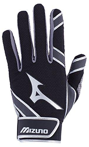 Mizuno MVP Adult Men's Baseball Batting Gloves, Large, Black