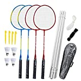 Badminton Racchette Set, 4-person Badminton Set Durevole Con Netto Per Adulti Bambini Famiglia Dei Bambini