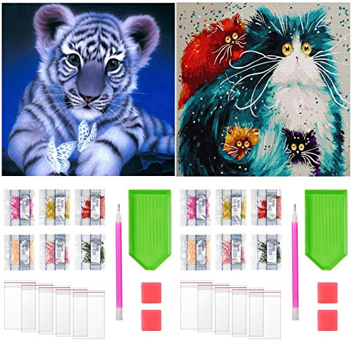 Paquete de 2 Pintura de Diamantes Animales, Pintura de Diamantes 5D Tigre y Gato DIY Pintura Brillante de Diamante por Número Kit Completo Bordado de Diamantes para Adultos Niños 30x40cm