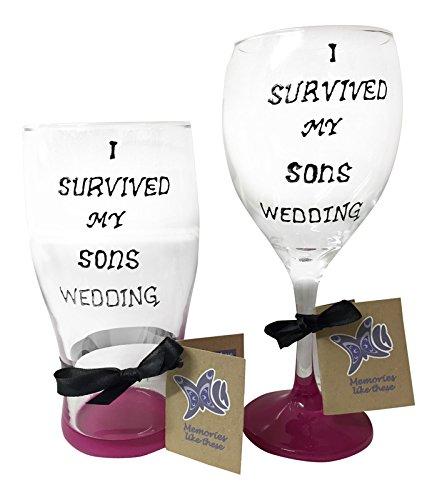Parents of the Groom cadeau, je survécu Mon fils Ensemble de mariage en verre peint à la main, verre à vin et verre à bière inclus