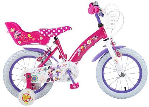 Disney Vélo Enfant Fille 14 Pouces Minnie Mouse Freins sur Le Guidon Roues de Stabilisation Rose 85% Assemblé
