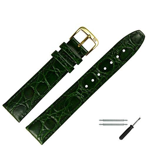 MARBURGER Uhrenarmband 18mm Leder Grün Kroko - Werkzeug Montage Set 5291860000220
