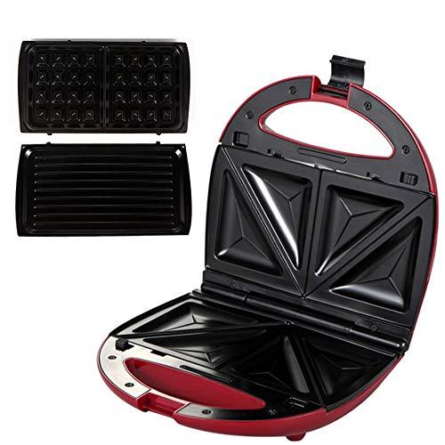 Keuken tosti-ijzer, 3-in-1 Snack Maker, met Easy Clean antiaanbaklaag platen, druippan, roestvrij staal voor Family