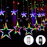 Blingstar Star Curtain Lights 138 LED 12 Star Multicolor Christmas Lights 8.2ft Connectable Window Lights with Remote Plug In Curtain String Lights for Indoor Outdoor Room Birthday Wedding Party Decor