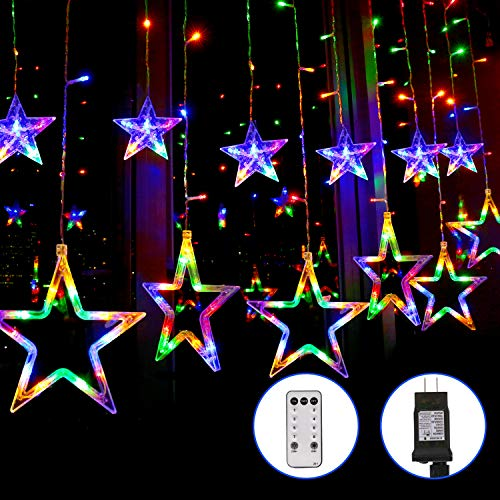 Blingstar Star Curtain Lights 138 LED 12 Star Multicolor Christmas Lights 8.2ft Connectable Window Lights with Remote Plug In Curtain String Lights...