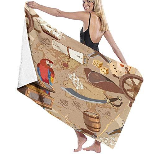 Grande Suave Toalla de Baño Manta,Antiguo Mapa del Tesoro Pirata Historias de...