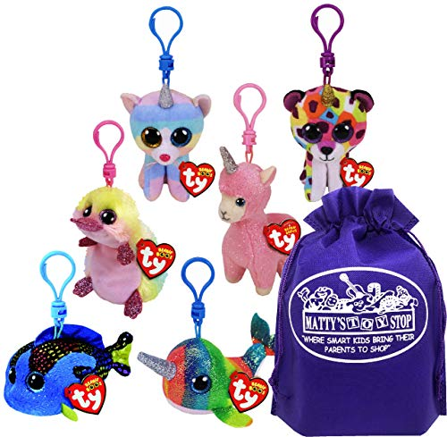 "TY Beanie Boos Clips (3"") Giselle, Heather, Lana, Petunia, Nori & Aqua Gift Set Bundle with Matty's Toy Stop Storage Bag - 6 Pack"