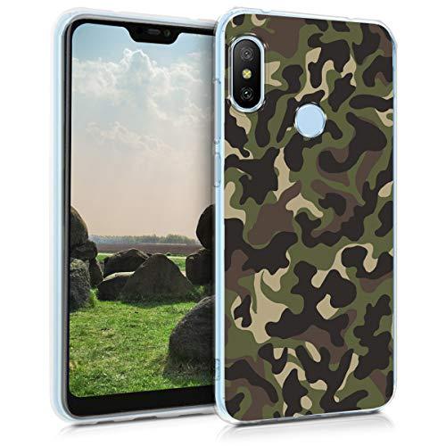 kwmobile Funda Compatible con Xiaomi Redmi 6 Pro/Mi A2 Lite - Carcasa de TPU y Camouflage en Verde Oscuro/marrón Oscuro/Beige
