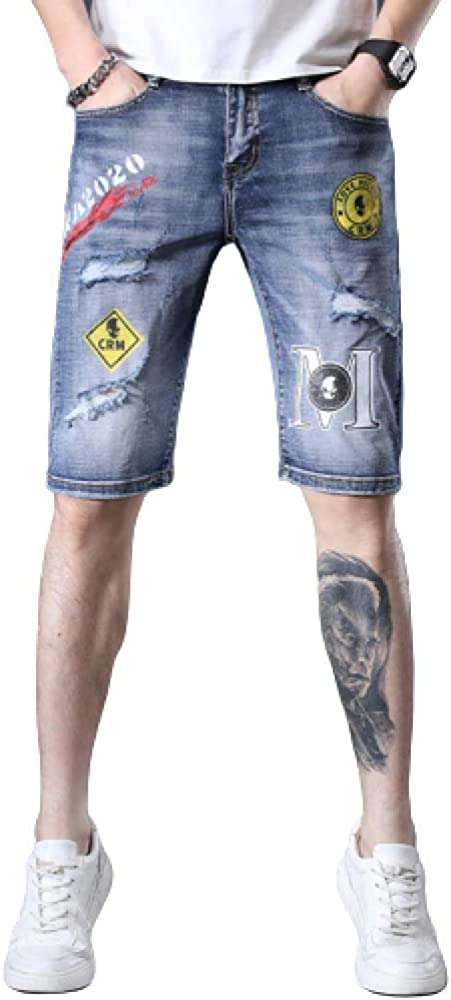 brandless Men's Pants Jeans Summer Embroidery Printing Fashion Denim Shorts Ripped Thin