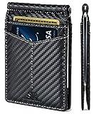 SERMAN BRANDS RFID Blocking Wallet Slim Bifold - Genuine Leather Minimalist Front Pocket Wallets for Men with Money Clip (Modern Black Rogue)