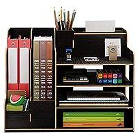 デスクオーガナイザー、大容量DIY木製事務用品収納ボックスファイルラック紙ドキュメントマガジンホルダーデスクオーガナイザーソーター,黒
