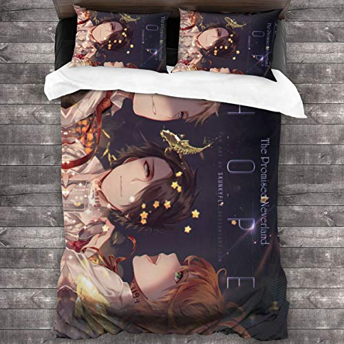 LYBZS The Promised Neverland Comforter Queen 3-Pieces Microfiber Printed Bedding Printed Quilt Sets One Size