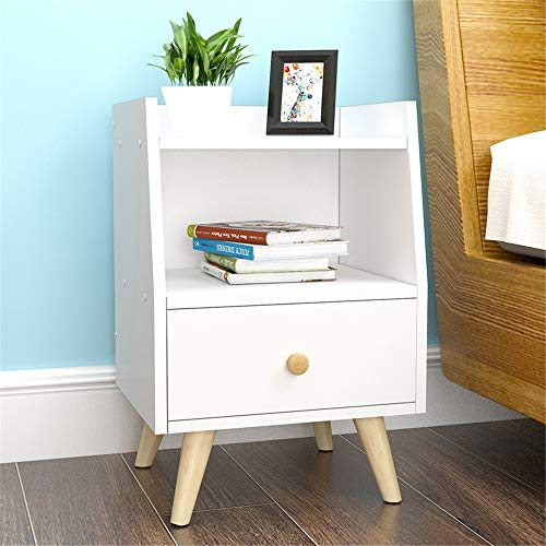 EVFIT Bedside Table Nightstand Bedside End Side Table Wooden with Drawer and Cabinet for Home Bedroom Open Shelf Perfect for Any Bedroom (Color : B, Size : 37x30x53cm)