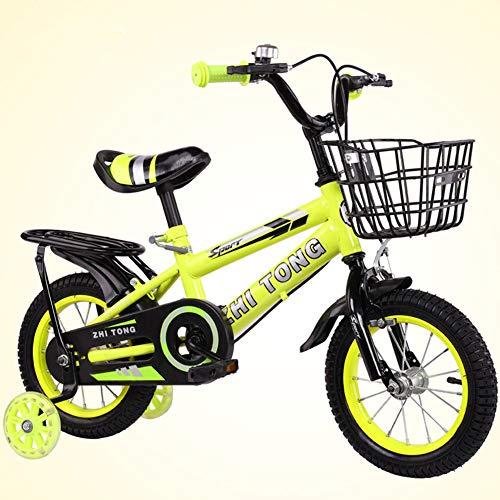 Bicicleta para niña de 2 a 7 años, con Freno de contrapedal, Modelo de 12/14/16/18 Pulgadas, Color Azul, Rojo, Amarillo con Asiento Trasero,Amarillo,12INCH