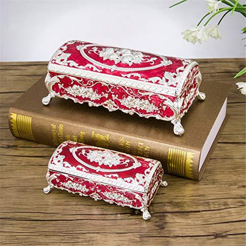 Joyero rectangular con diseño de rosas, color rojo (plata pequeña)