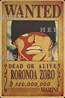 海賊アニメRORONOA ZOROロロノア・ゾロ さびた錫のサインヴィンテージアルミニウムプラークアートポスター装飾面白い鉄の絵の個性安全標識警告バースクールカフェガレージの寝室に適しています