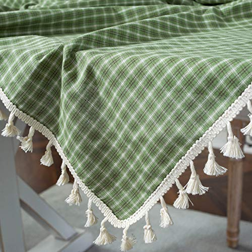 Mantel de Borla a Cuadros Retro algodón y Lino, decoración de Mesa de Sala de jardín fácil de cuidar, Cheque Verde 120 * 160 CM