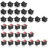GTIWUNG 32Pcs Auto Boton Interruptor Rocker Switch, Interruptor Coche Rocker Interruptor 10A/125V, 6A/250V SPST On/Off Mini Interruptor Electrónico para Barcos, Electrodomésticos, Rojo & Negro
