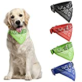 HACRAHO Collar de bandana para perro, 4 bufandas triangulares para mascotas, collar triángulo de piel, para perros pequeños, medianos grandes, azul, negro, rojo, verde