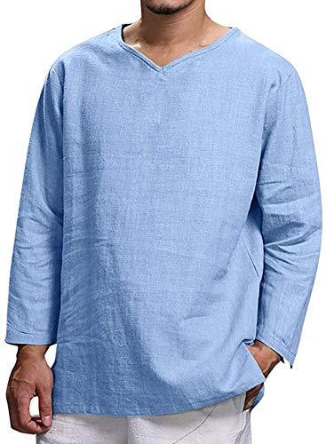 NTNY3 Camicia da Uomo Manica Lunga Camicie Slim Fit Ragazzo Magliette Casual Spiaggia (Azzurro, XL)