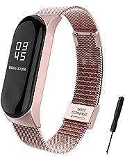 BDIG Xiaomi Mi Band 3 armband metaal, vervangbandje, waterdicht roestvrij staal, armband accessoires voor Xiaomi Mi Band 3 (fitnesstracker niet inbegrepen), MeLan Pink